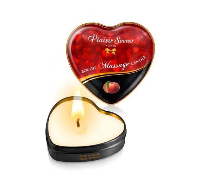 Массажная свеча сердечко Plaisirs Secrets Peach (35 мл)