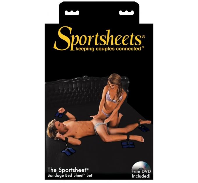 Простыня с набором фиксаторов Sportsheets Queen Size до 150х200, фиксация в любом месте простыни