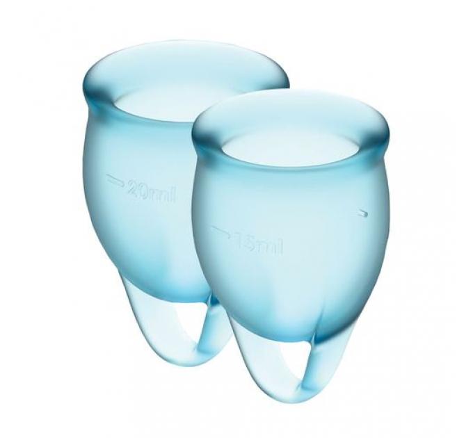 Набор менструальных чаш Satisfyer Feel Confident (light blue), 15мл и 20мл, мешочек для хранения