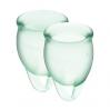 Набор менструальных чаш Satisfyer Feel Confident (light green), 15мл и 20мл, мешочек для хранения