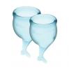 Набор менструальных чаш Satisfyer Feel Secure (light blue), 15мл и 20мл, мешочек для хранения