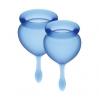 Набор менструальных чаш Satisfyer Feel Good (dark blue), 15мл и 20мл, мешочек для хранения