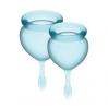 Набор менструальных чаш Satisfyer Feel Good (light blue), 15мл и 20мл, мешочек для хранения