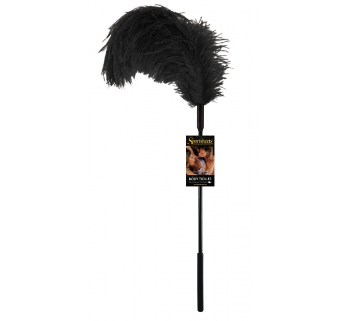 Перо страуса Sportsheets Ostrich Tickler Черное, для изысканных ласк