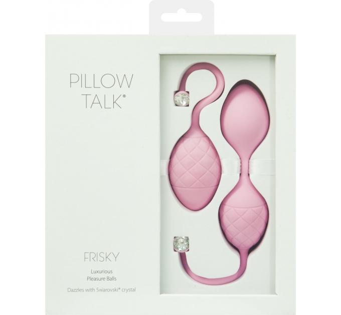 Роскошные вагинальные шарики PILLOW TALK - Frisky Pink с кристаллом, диаметр 3,2см, вес 49-75гр