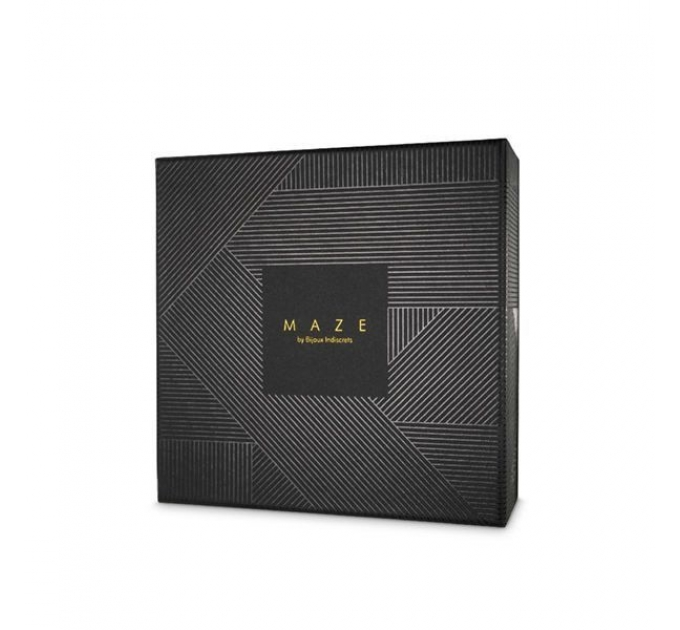 Наручники с поводком Indiscrets MAZE - T-Restraints Black, экокожа, подарочная упаковка