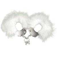 Наручники металлические Adrien Lastic Handcuffs White с белой пушистой отделкой
