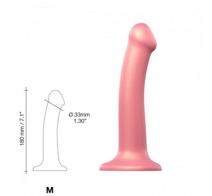 Насадка для страпона Strap-On-Me Mono Density Dildo Rose M, диам. 3,3см, однослойный силикон, гибкий