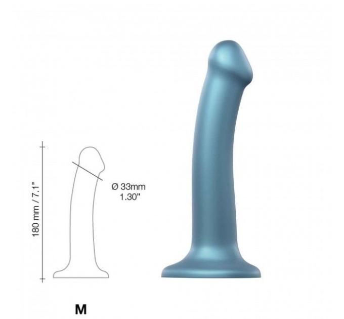 Насадка для страпона Strap-On-Me Mono Density Dildo Blue M, диам. 3,3см, однослойный силикон, гибкий