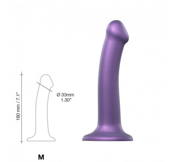 Насадка для страпона Strap-On-Me Mono Density Dildo Violet M, диам. 3,3см, однослойный силикон, гибк