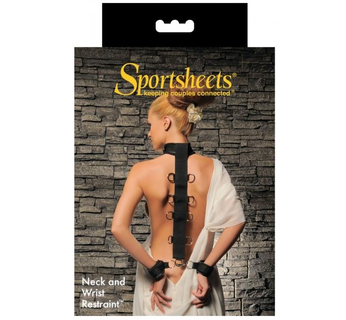Ошейник с наручниками Sportsheets Neck & Wrist Restraint с лентой для фиксации рук