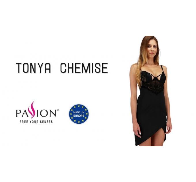 Сорочка приталенная TONYA CHEMISE black S/M - Passion Exclusive, трусики
