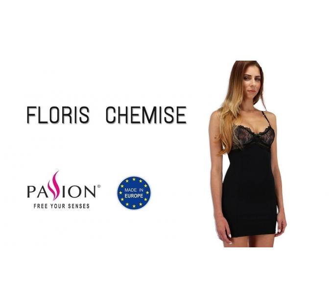 Сорочка приталенная с чашечками FLORIS CHEMISE black S/M - Passion Exclusive, трусики