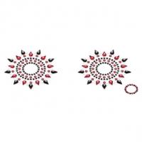 Пэстис из кристаллов Petits Joujoux Gloria set of 2 - Black/Red, украшение на грудь