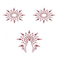 Пэстис из кристаллов Petits Joujoux Gloria set of 3 - Red, украшение на грудь и вульву