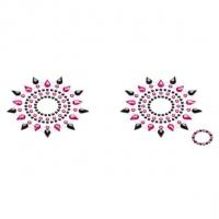Пэстис из кристаллов Petits Joujoux Gloria set of 2 - Black/Pink, украшение на грудь