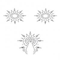 Пэстис из кристаллов Petits Joujoux Gloria set of 3 - Silver, украшение на грудь и вульву