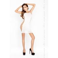 Бодистокинг Passion BS026 white, платье-сетка на бретелях