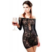 Платье-сетка с декольте Anne De Ales FETISH DINNER Black M/L, спущенное плечо
