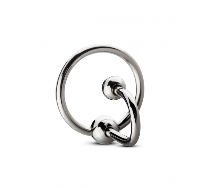 Уретральная вставка с кольцом Sinner Gear Unbendable - Sperm Stopper Solid, диаметр кольца 3,2см