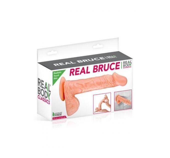 Фаллоимитатор Real Body - Real Bruce Flesh, TPE, диаметр 4,2см