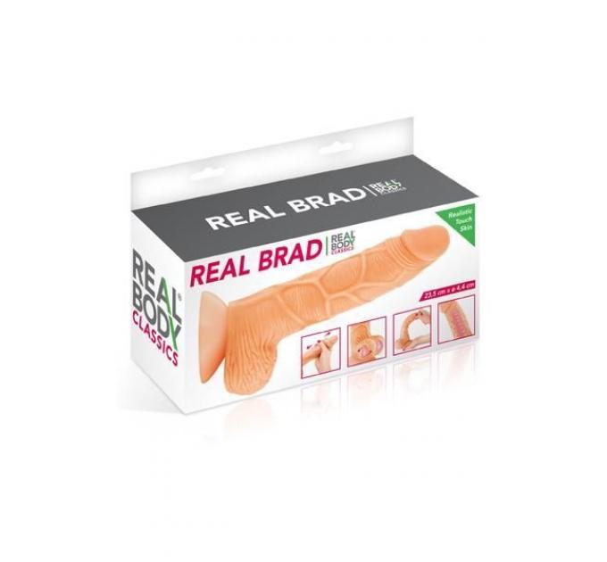 Фаллоимитатор с подвижной крайней плотью Real Body - Real Brad, диаметр 4,5см, TPE