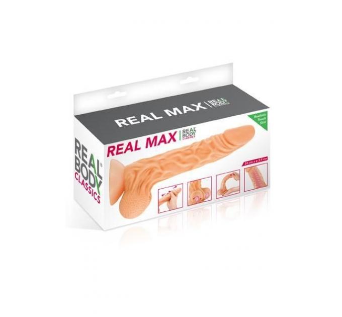 Фаллоимитатор с подвижной крайней плотью Real Body - Real Max, диаметр 4,3см, TPE