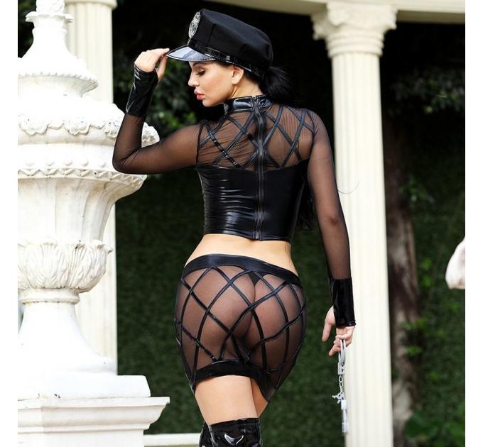 Эротический костюм полицейского Дерзкая Кристи S/M, юбка, топ, фуражка, митенки, наручники