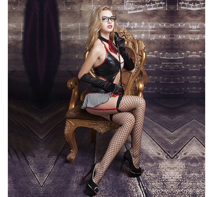 """Эротический костюм учительницы """"Строгая Молли"""" S/M, юбочка, топ, чулки, трусики, галстук, перчатки"""
