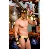 """Мужской эротический костюм пожарного """"Пылающий Стивен"""" S/M: каска, воротник, манжеты, трусы"""