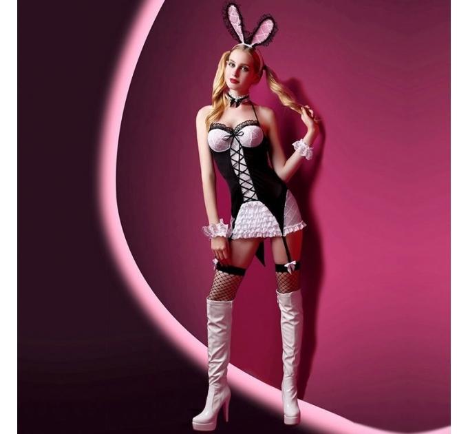 """Эротический костюм зайки """"Милашка Джейн"""" S/M, платье, ушки, чулочки, трусики, браслеты и чокер"""