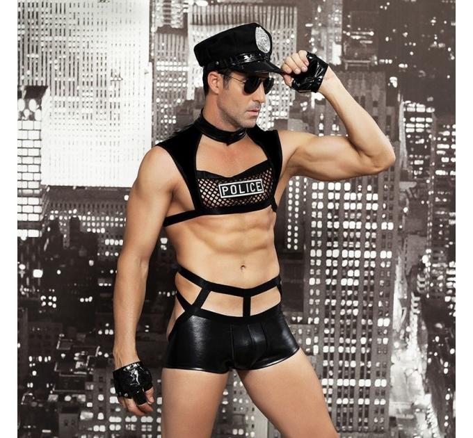 """Мужской эротический костюм полицейского """"Капитан Суровый"""" фуражка, трусы, топ, перчатки, очки, наруч"""