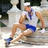 Мужской эротический костюм морячка Изголодавшийся Робин S/M: шорты, майка, перчатки, платок, шапочка