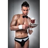 Мужской эротический костюм официанта Passion 020 SLIP black L/XL: трусики, бабочка, манжеты