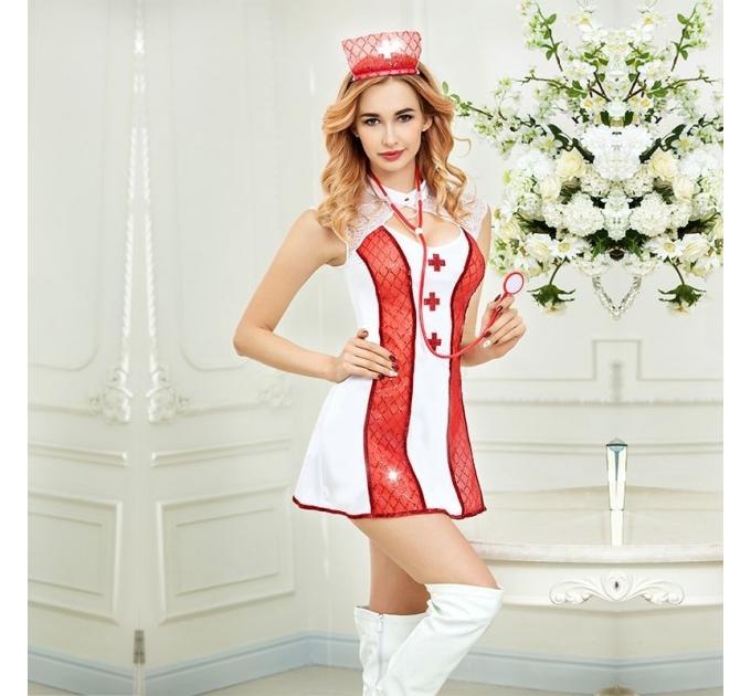 Эротический костюм медсестры Соблазнительная Адриана S/M, платье, трусики, головной убор, стетоскоп