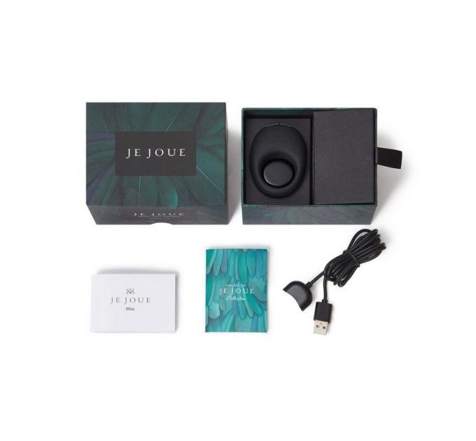 Премиум эрекционное кольцо Je Joue - Mio Black с глубокой вибрацией, эластичное, магнитная зарядка