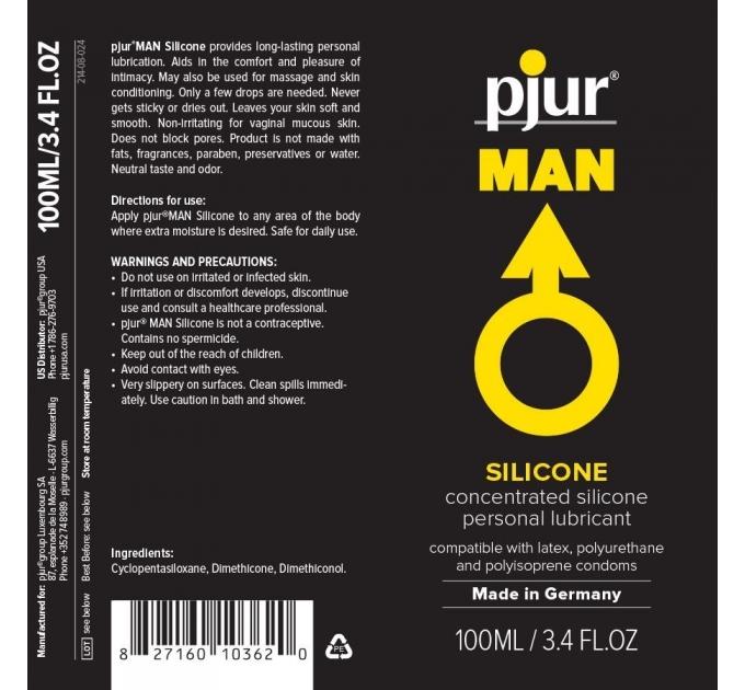 Лубрикант на силиконовой основе pjur MAN Basic personal glide 100 мл с деликатным уходом за кожей