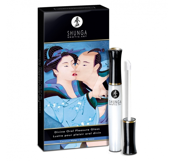 Стимулирующий блеск для губ Shunga LIPGLOSS - Coconut Water (10 мл), эффект покалывания, холод-тепло