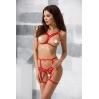 Комплект белья MAGALI SET OpenBra red S/M - Passion Exclusive: стрэпы: лиф, трусики и пояс