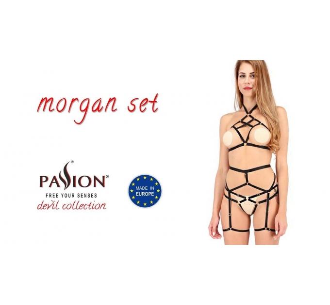 Комплект белья MORGAN SET OpenBra black XXL/XXXL - Passion Exclusive: стрэпы: трусики, лиф, пояс