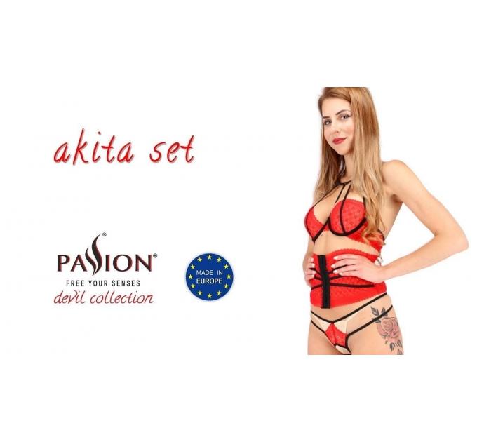 Комплект белья AKITA SET red S/M - Passion Exclusive: широкий пояс, лиф, стринги