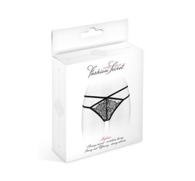 Трусики-стринги Fashion Secret MYLENE Black с двойной линией бедра