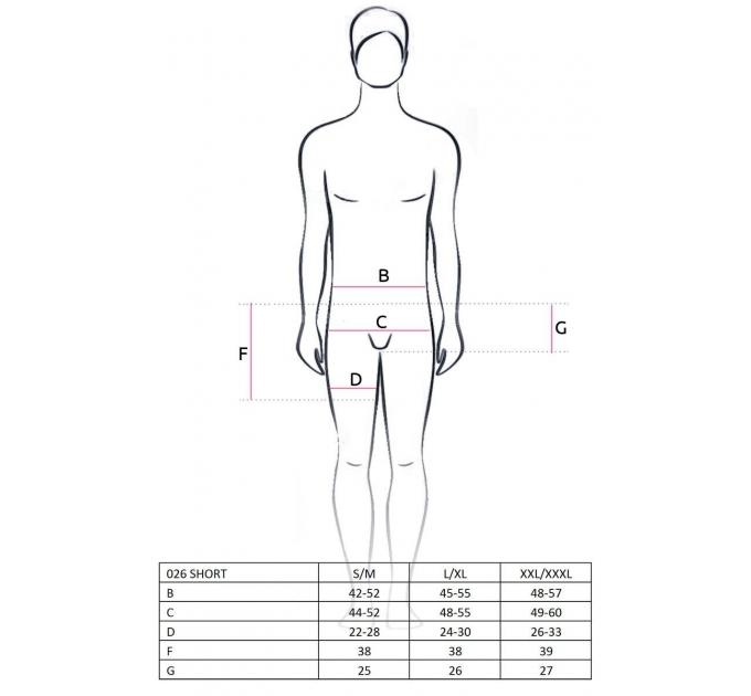 Прозрачные мужские шортики Passion 026 SHORT black XXL/XXXL