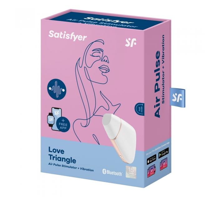Вакуумный клиторальный стимулятор Satisfyer Love Triangle White с управлением через интернет