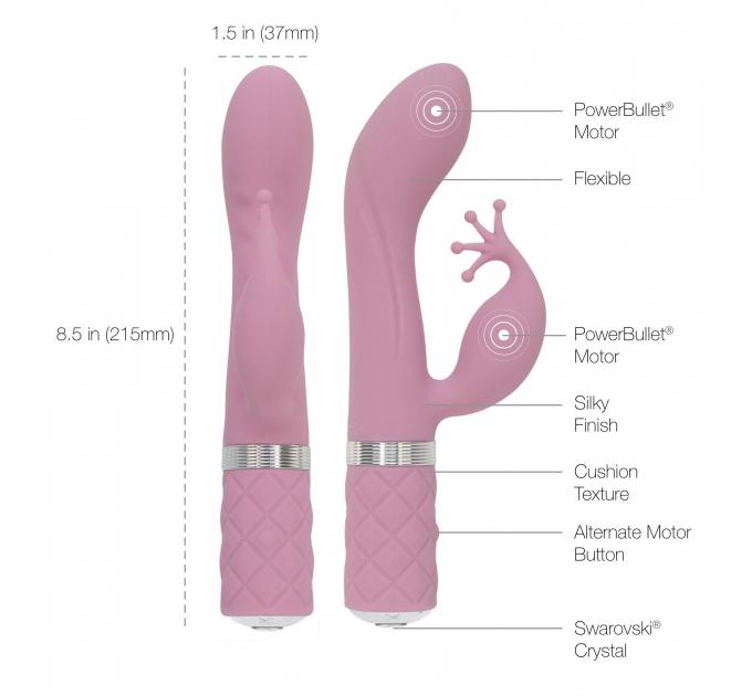 Роскошный вибратор-кролик Pillow Talk - Kinky Pink с кристаллом Сваровски, мощный