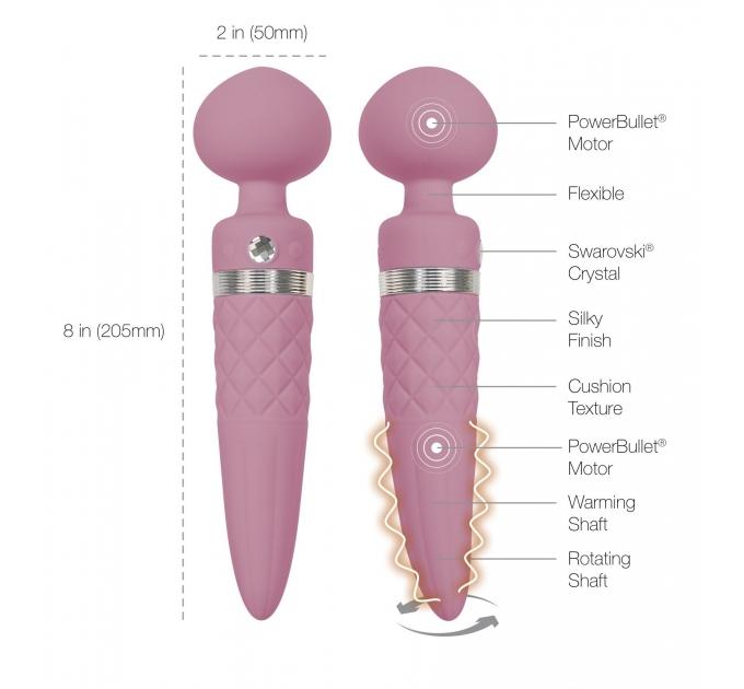Вибромассажер 2-в-1 PILLOW TALK - Sultry Pink, классический массажер и вибратор с ротацией, подогрев