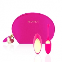 Виброяйцо Rianne S: Pulsy Playball Deep Pink с вибрирующим пультом Д/У, косметичка-чехол