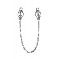 Зажимы для сосков с цепочкой Feral Feelings - Clover nipple clamps, серебро/белый